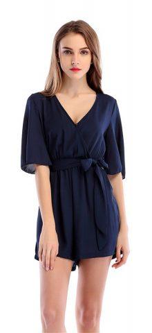 Hualong Sexy Deep V Chiffon Dark Blue Short Sleeve Romper