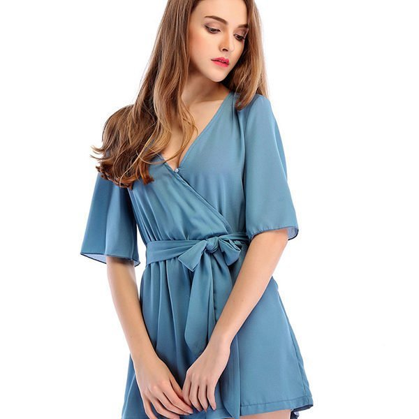 4b5e88a3f Hualong Sexy Deep V Chiffon Short Sleeve Romper - Online Store for ...