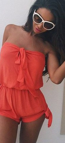 Hualong Sexy Strapless Orange Womens Romper Shorts