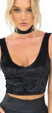 Hualong Sexy V Neck Strap Black Crop Top