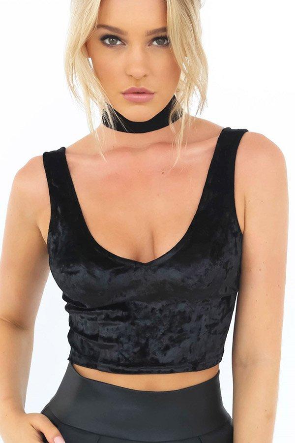 Hualong Sexy V Neck Strap Black Crop Top