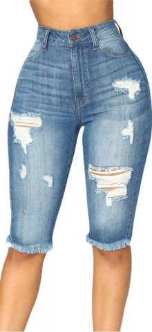 Hualong Light Blue Ripped High Waisted Denim Shorts