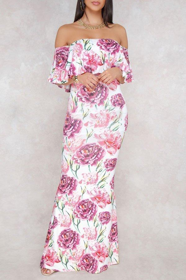 24c4d586dfc Hualong Off Shoulder Floor Length Floral Prom Dresses - Online Store ...
