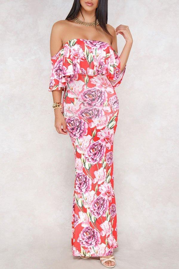 e9e274dbda27 Hualong Off Shoulder Red Floor Length Floral Dress - Online Store ...