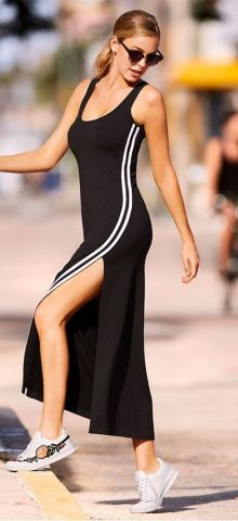 Hualong Side Split Long Black Sleeveless Maxi Dress