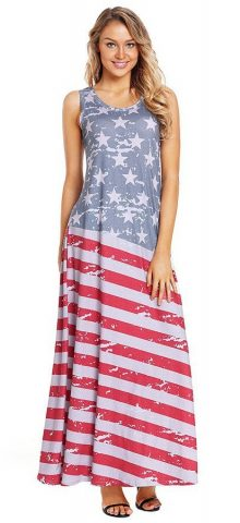 Hualong Sleeveless Summer American Flag Maxi Dress