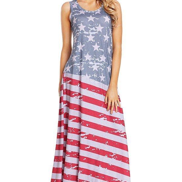 Hualong Sleeveless Summer American Flag Maxi Dress - Online Store ...