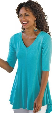 Hualong V Neck Half Sleeve Turquoise Ladies Baggy T Shirts 1