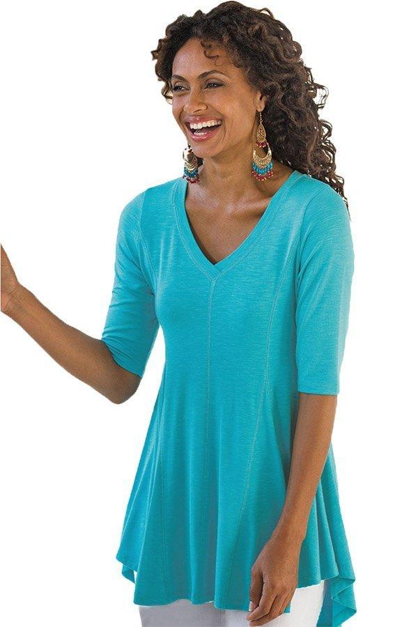 Hualong V Neck Half Sleeve Turquoise Ladies Baggy T Shirts 1