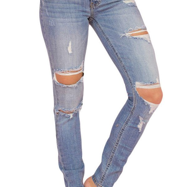 8ae1d703b9b Hualong Wash Womens Light Blue Distressed Jeans - Online Store for ...