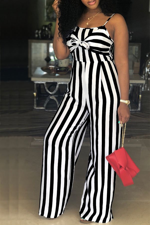 415ecf76b8d Hualong Wide Leg Black And White Striped Jumpsuit - Online Store for ...