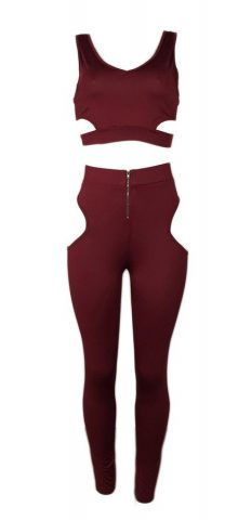Hualong Wine Red Cut Out Leggings And Top Set