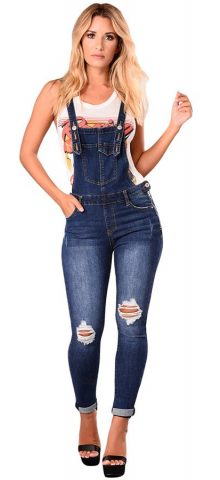 Hualong Women Dark Blue Distressed Denim Overalls