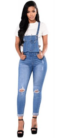 Hualong Women Strap Blue Jean Denim Jumpsuit