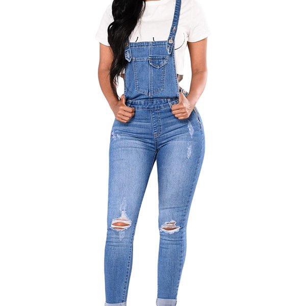 Hualong Women Strap Blue Jean Denim Jumpsuit Online Store For