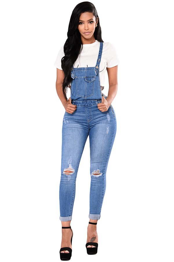 d5b8733df Hualong Women Strap Blue Jean Denim Jumpsuit - Online Store for ...