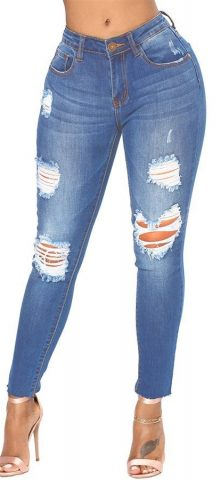 Hualong Womens Blue Destroyed And Distressed Jeans