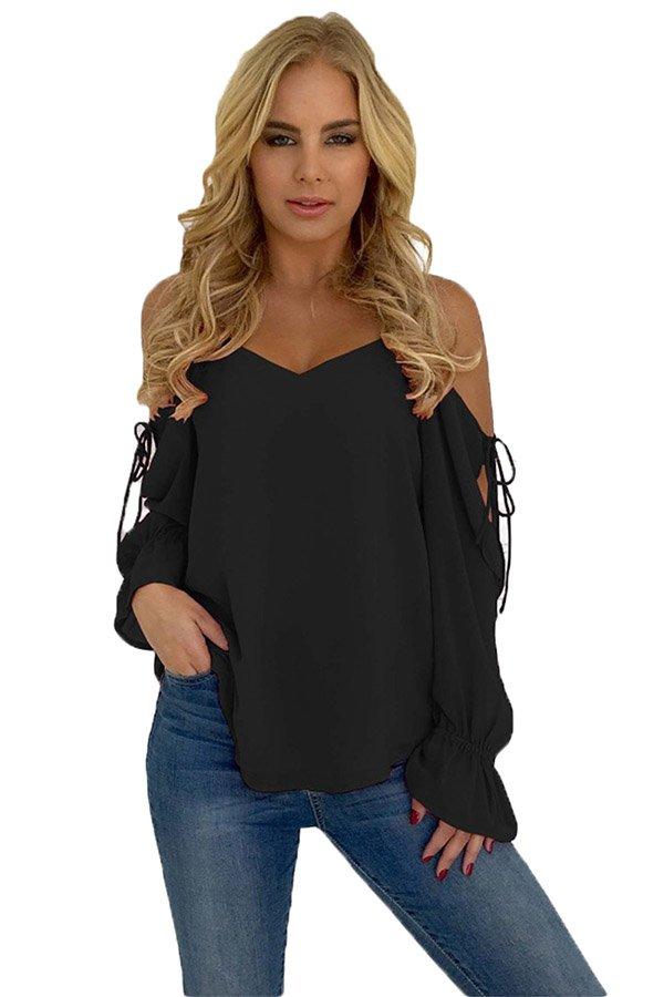 27cd3707488 Hualong Black Long Sleeve Cold Shoulder Tops For Women - Online ...