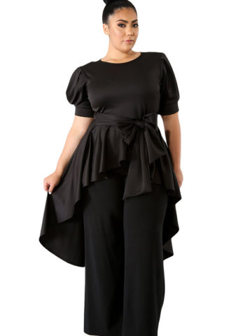 Hualong Black Short Sleeve Tie Front Womens Plus Size Tops