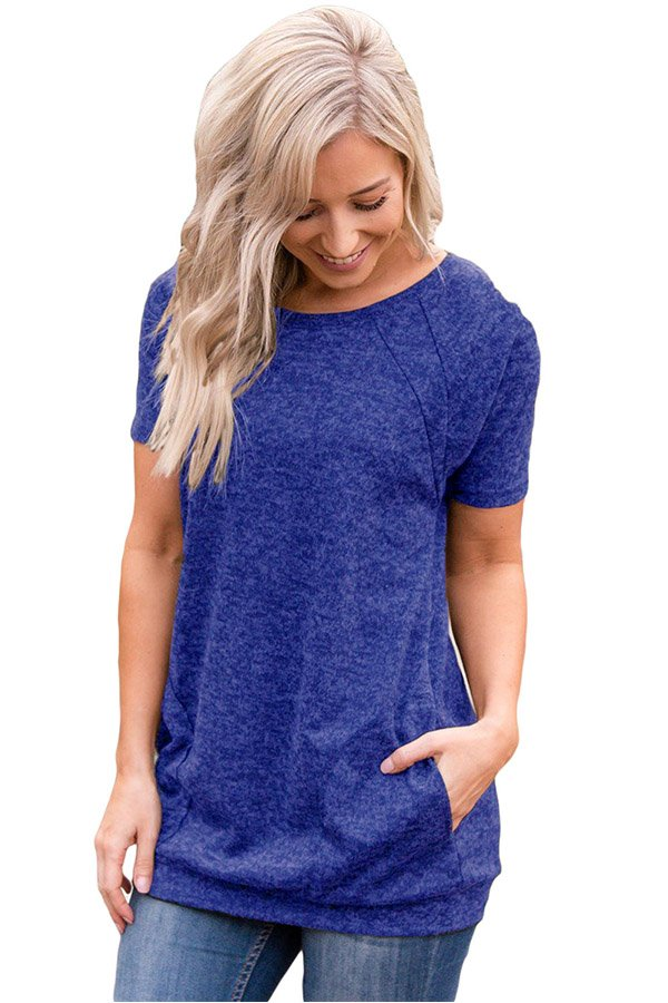 Hualong Blue Short Sleeve Womens Pocket Tee Shirt