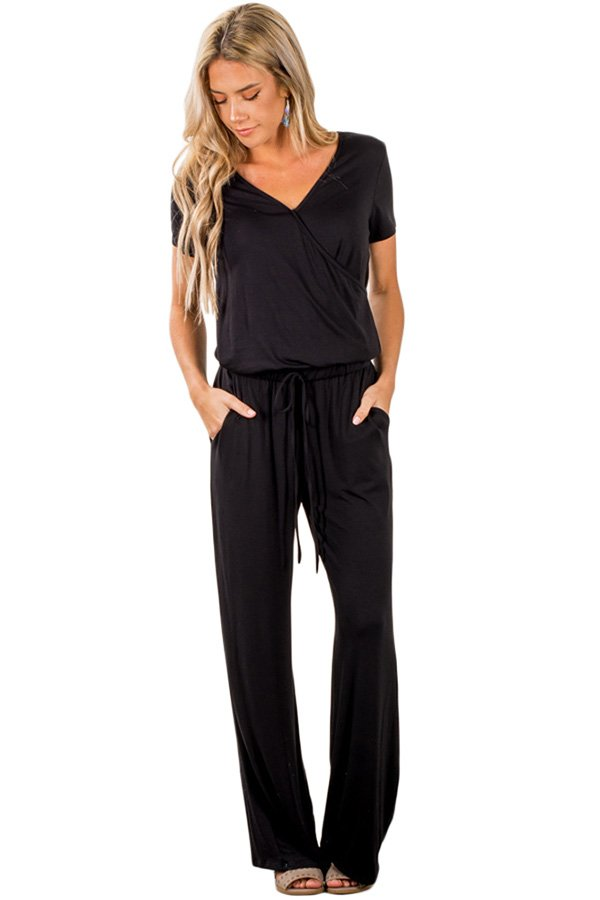 Hualong Casual Short Sleeve Womens Black Jumpsuit