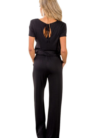 Hualong Casual Short Sleeve Womens Black Jumpsuit