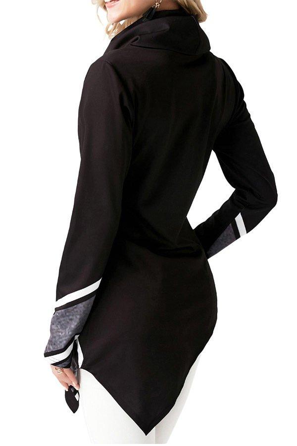 Hualong Line Printed Black Ladies Cowl Neck Tops
