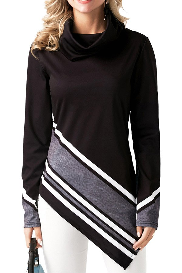 Hualong Line Printed Black Ladies Cowl Neck Tops