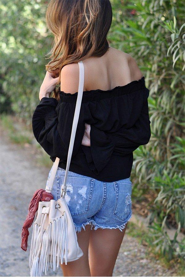 Hualong Off Shoulder Womens Long Sleeve T Shirts