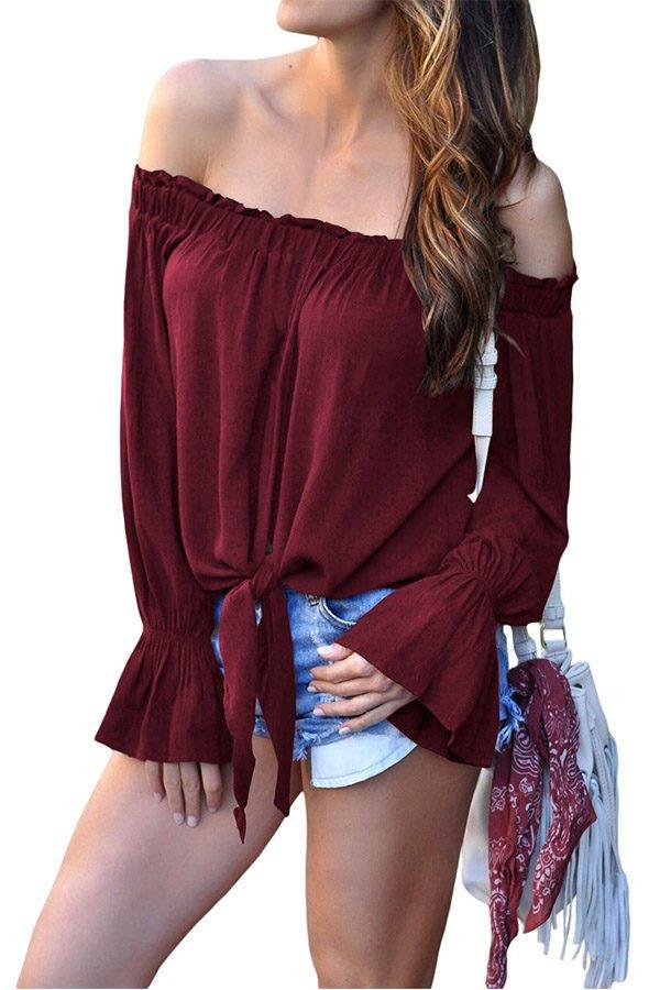 Hualong Off The Shoulder Womens Red Tee Shirt