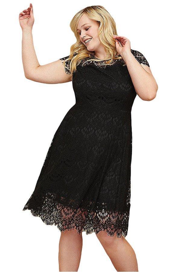 Hualong Short Sleeve Lace Plus Size Flare Dress
