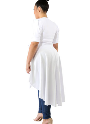 Hualong White Short Sleeve Tie Front Womens Plus Size Tunics