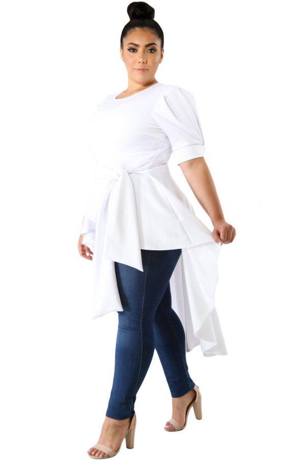 Hualong White Short Sleeve Tie Front Womens Plus Size Tunics