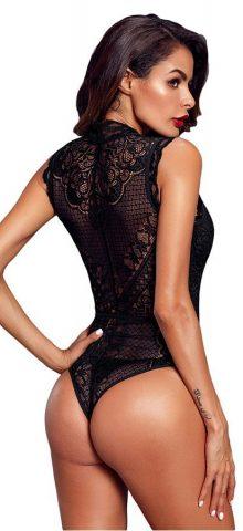 Hualong Women Sexy Black V Neck Lace Bodysuit