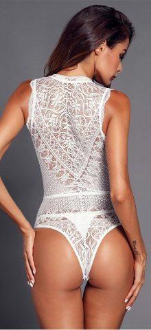 Hualong Women Sexy White V Neck Lace Bodycon Bodysuit