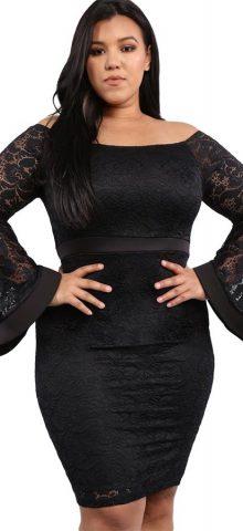 Hualong Sexy Bell Sleeve Plus Size Black Lace Dress