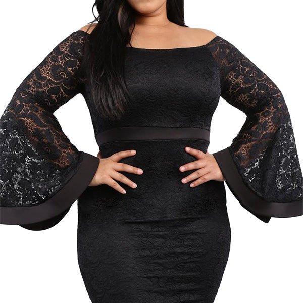 acedb2e099eb Hualong Sexy Bell Sleeve Plus Size Black Lace Dress - Online Store ...