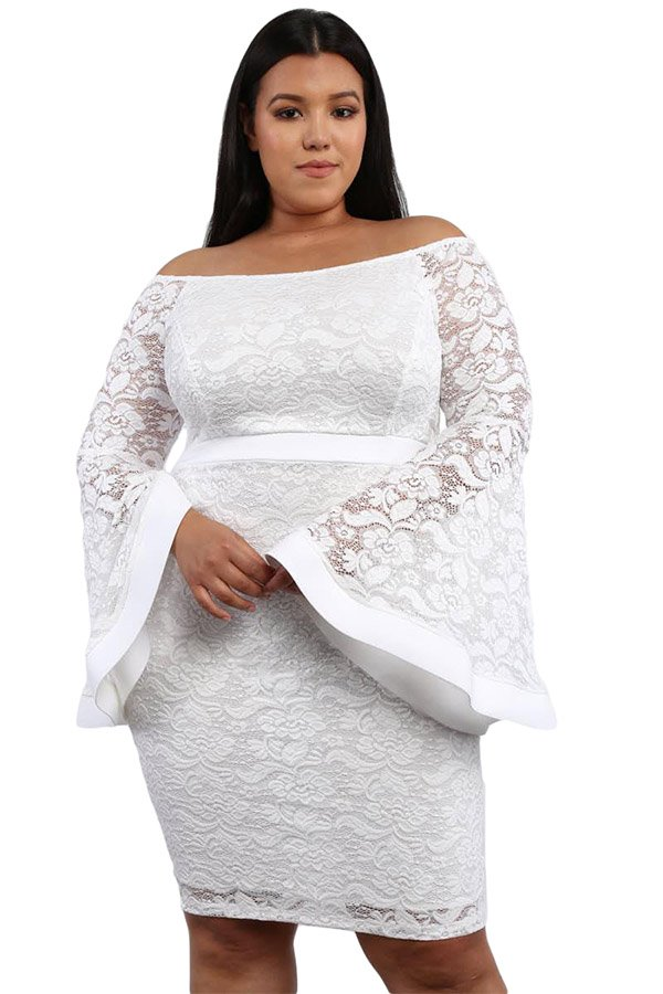 27d34e9b7c Hualong Sexy Bell Sleeve Plus Size White Lace Dress - Online Store ...