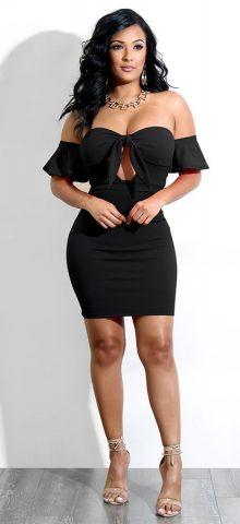 Hualong Sexy Off Shoulder Black Tie Front Midi Dress1