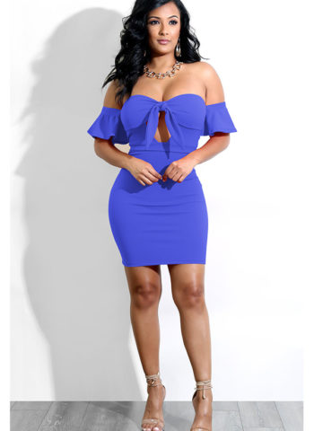 Hualong Sexy Off Shoulder Blue Tie Front Midi Dress 1