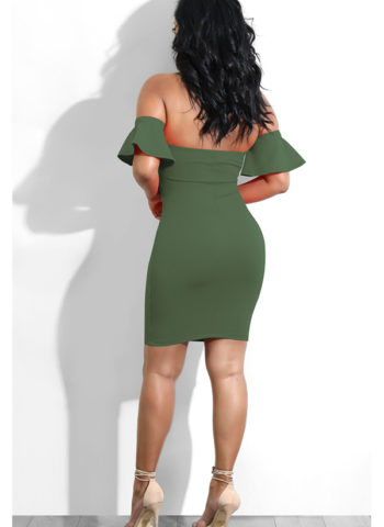 Hualong Sexy Off Shoulder Green Tie Front Midi Dress1