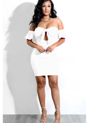 Hualong Sexy Off Shoulder White Tie Front Midi Dress 1