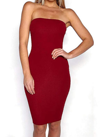 Hualong Sexy Short Wine Off The Shoulder Bodycon Dress1