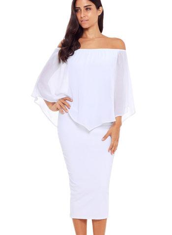 Hualong Women White Off Shoulder Bodycon Midi Dress