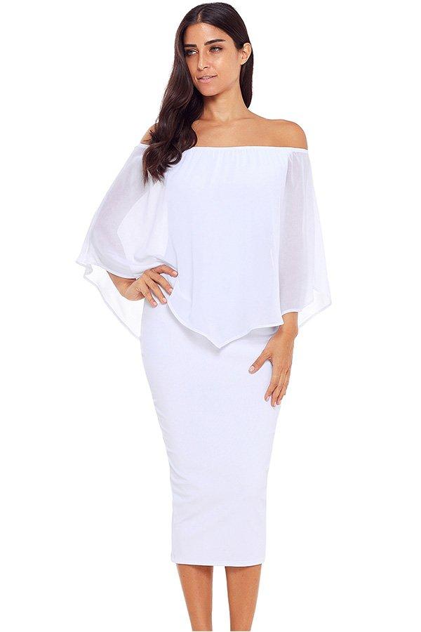 740c7558762 Hualong Women White Off Shoulder Bodycon Midi Dress - Online Store ...