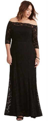 225ce92f66d ... Hualong Black Off Shoulder Plus Size Maxi Dresses With Sleeves