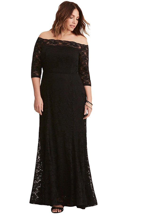 Hualong Black Off Shoulder Plus Size Maxi Dresses With Sleeves