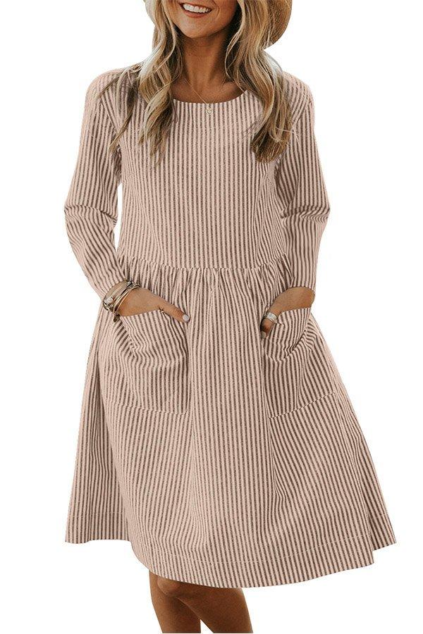 Hualong Casual Apricot Pocket Long Sleeve T Shirt Dress