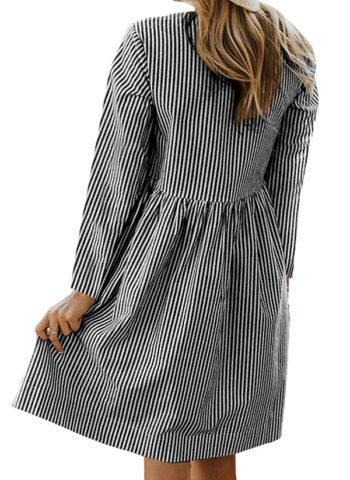 Hualong Casual Pocket Long Sleeve Striped Dress