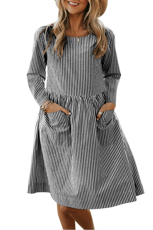Hualong Casual Pocket Long Sleeve Striped Dress